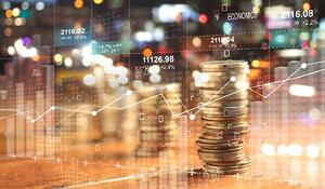 double-explosure-with-businesss-charts-of-graph-and-rows-of-coins-for-picture-id1051617040
